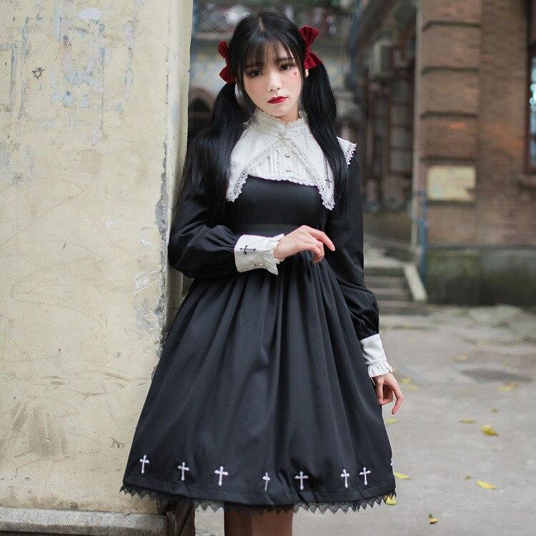 Punk Gothic Lolita sukienka dziewczyna ciemności czarne kobiety monastycyzm w stylu Vintage pełna rękaw zakonnica krzyż haft Halloween Cos sukienki w Suknie od Odzież damska na  Grupa 2