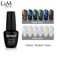 1 pz/set Galaxy Ombra Gel Nail Polish Shinning di Scintillio Luminoso Gelpolish 15ml di bellezza LED & UV del Gel di Colore Del Chiodo vernish(China)