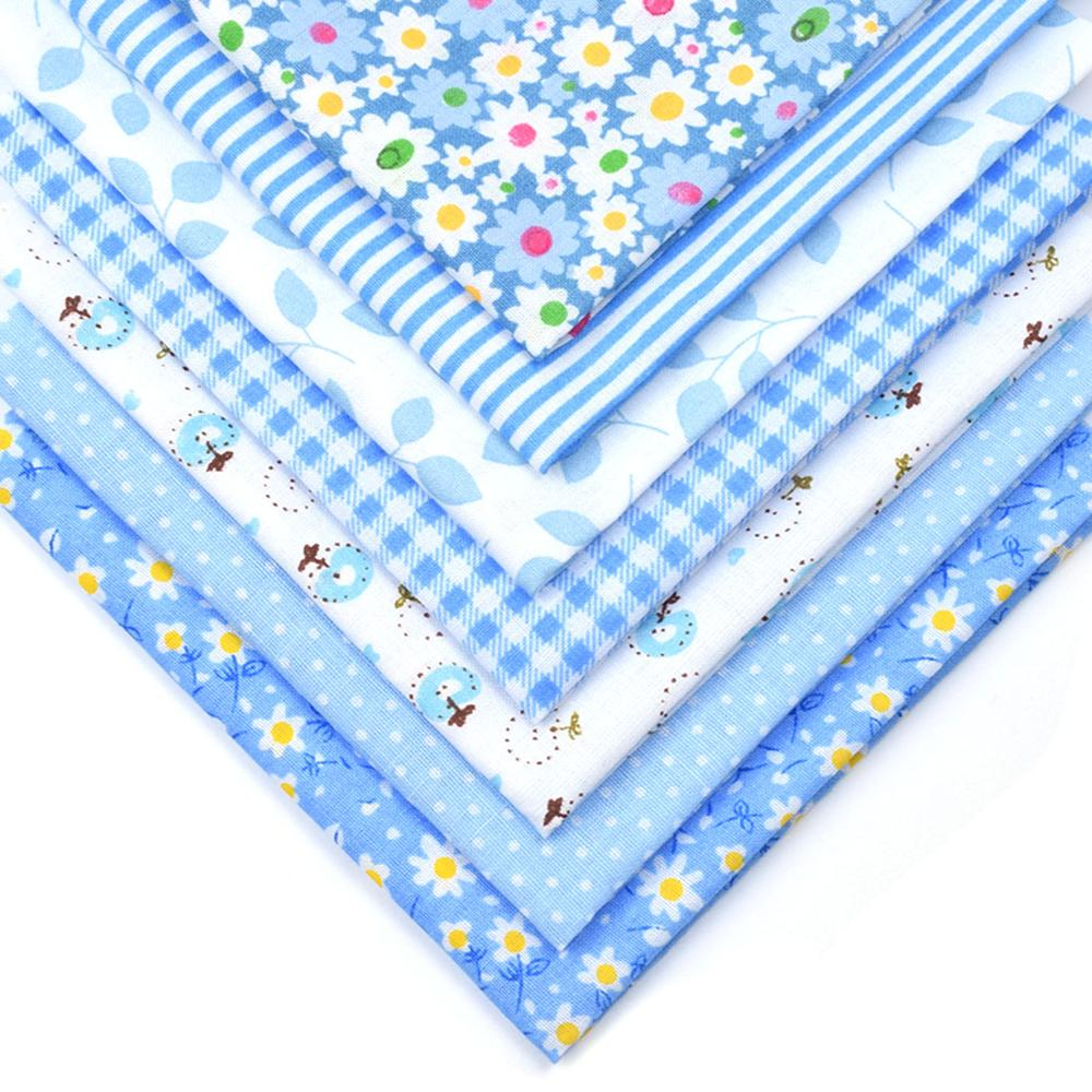 7Pcs 25cmx25cm Blue Striped Floral Dot Cotton Printed Fabric Sewing Quilting Fabrics for Patchwork Needlework Handmade Material