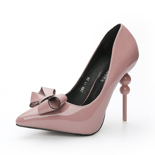 JS268-11 Hot Fashion Woman Thin High Heel PU Platform Pumps Lady Sexy Pointed Toe Shoes 12CM Euro Size 34-39  Butterfly-knot