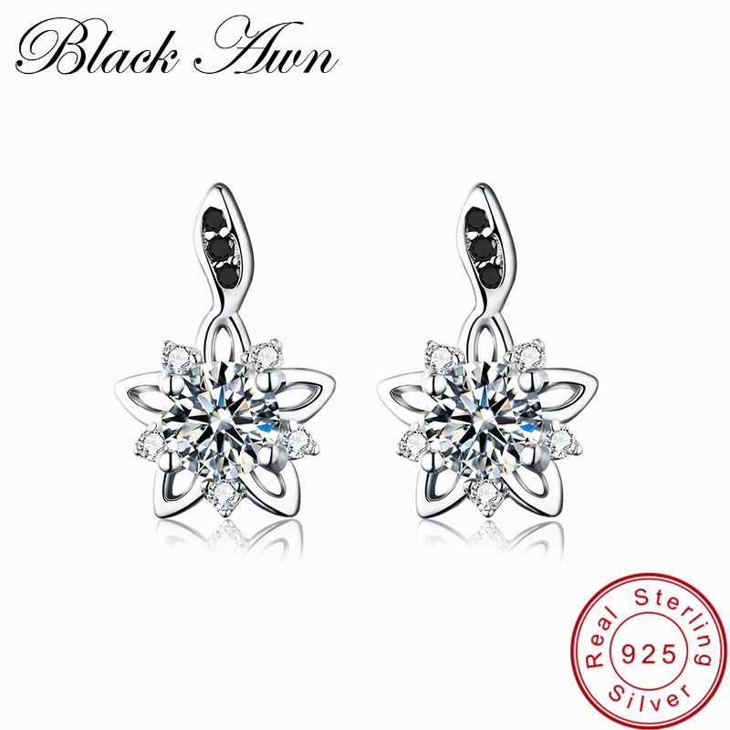 [BLACK AWN] Genuine 925 Sterling Silver Fine Jewelry Flower Black&White Stone Engagement Stud Earrings for Women T032[BLACK AWN] Genuine 925 Sterling Silver Fine Jewelry Flower Black&White Stone Engagement Stud Earrings for Women T032