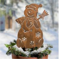 High 46cm,European style wrought iron vintage garden insert Cute snowman flower inserted Christmas decoration