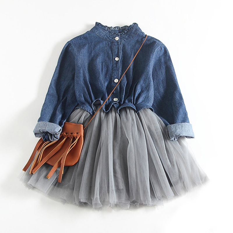 Autumn Denim Kids Dresses For Girls Patchwork TuTu Dress Cotton Kids Clothing Infant Jeans Dresses Baby Girl Princess Dress 3-8Y retail dresses for girls kids baby girl dress princess summer stripe dresses cotton pocket children clothing jm6828 mix