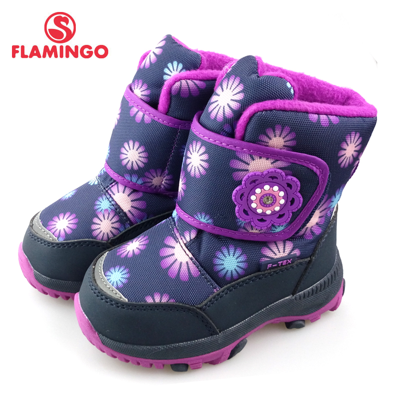 FLAMINGO Winter High Quality Waterproof Wool Keep Mid-Calf Warm Kids Shoes Anti-slip Size 22-27 Snow Boots for Girl 82M-QK-0918 ps007 star pattern waterproof anti slip full finger gloves for children black pair free size