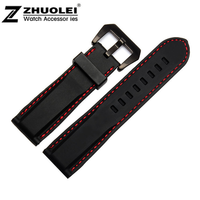 1524a3b9257 Watch band 22mm 24mm Red Stitch Black Waterproof Silicone Rubber Watch band  Strap Black PVD Watch buckle