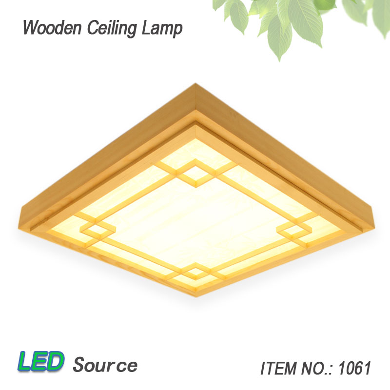 Japonský styl Tatami dřevo strop a Pinus Sylvestris Ultrathin LED lampa přírodní barvy Čtvercová mřížka papírové stropní svítidlo