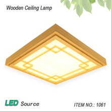 Japanese Style Tatami Wood Ceiling and Pinus Sylvestris Ultrathin LED Lamp Natural Color Square Grid Paper Ceiling Lamp Fixture