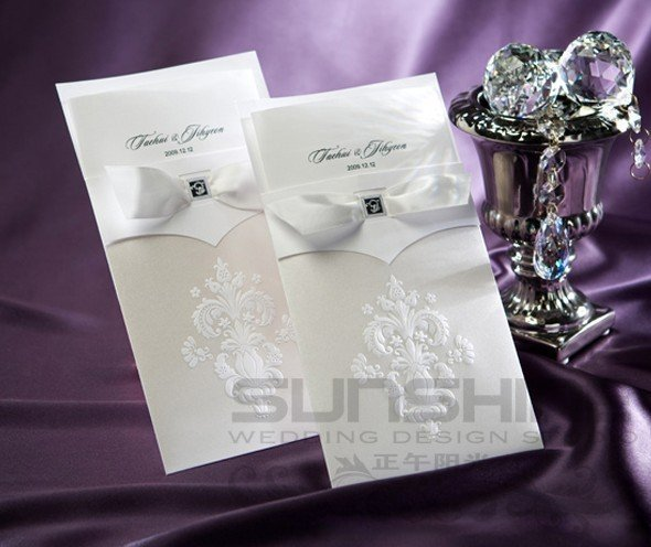 invitation card, wedding cards, B9014, white color with envelope, print your text, free shipping