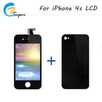 1 unids AAA calidad pantalla para iPhone4s LCD pantalla táctil con reemplazo de la Asamblea del digitizador + cubierta trasera negro