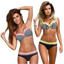 Купить с кэшбэком Plus Size Push Up Bikini Set Print 2019 New Arrival Swimwear Women Bordered Halter Top Bathing Suit Sexy Strappy Swimsuit