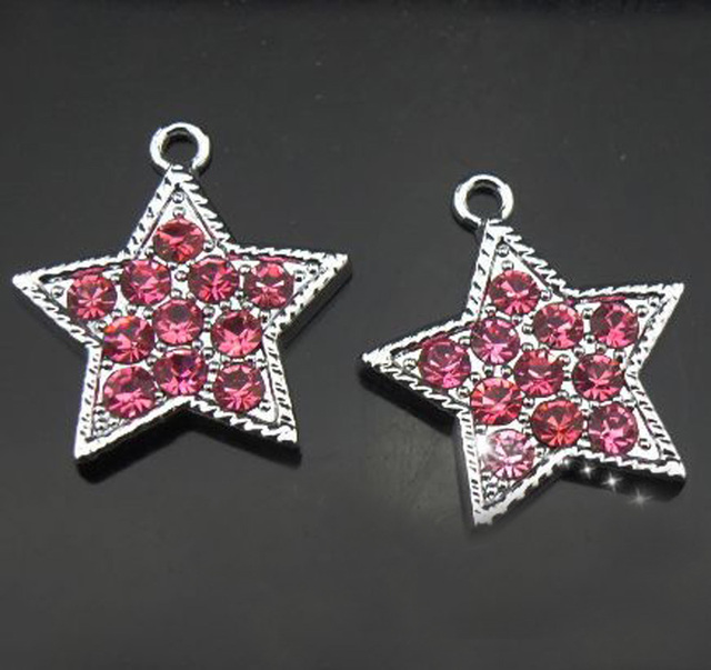 Free Shipping! 50PCS Rhinestone Hot Pink Five-Pointed Star Hang Pendants  Hang Charms DIY Phone Strips 0cc02909c3ca