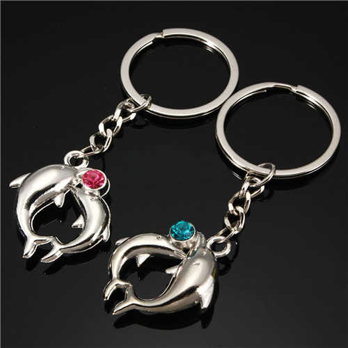 1 par nova venda quente romântico liga distintivo casal golfinho chaveiro adorável amantes chaveiro presentes atacado