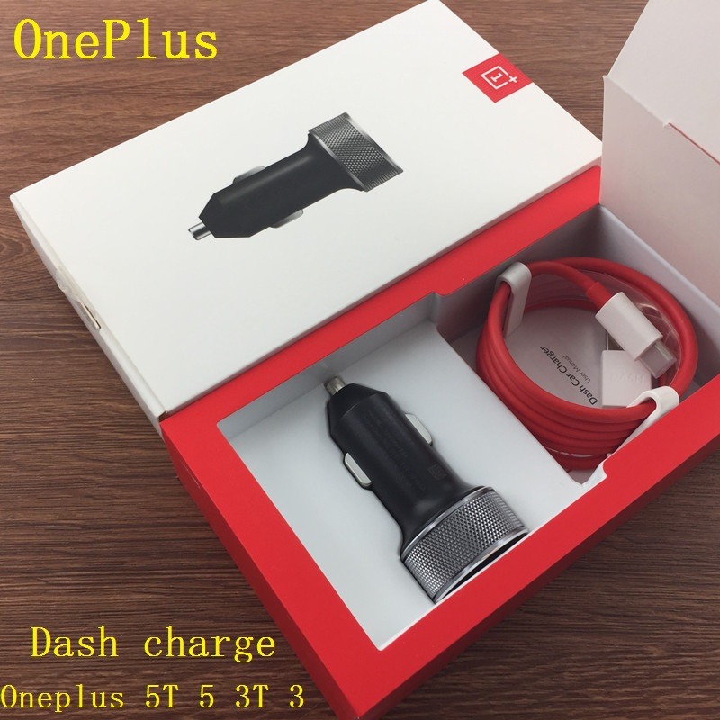 Original OnePlus 5T 5 3T 3 DASH Car Charger + 1+ Type-C Cable fast quick charge for Oneplus three five T A5010 A5000 A3010 A3000