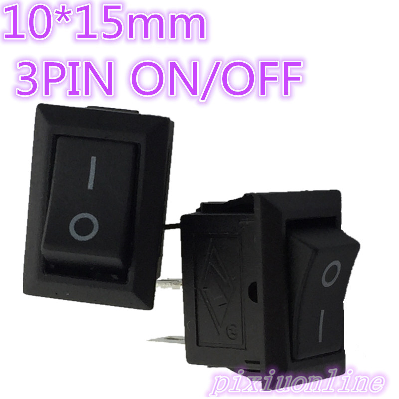 G123Y High Quality 10pc 10*15mm SPST 3PIN ON/OFF G123 Boat Rocker Switch 3A/250V Hot Sale 2017 Sell Loss diy rocker switch with 2 x cable for car vehicle black 3a 250v 6a 125v