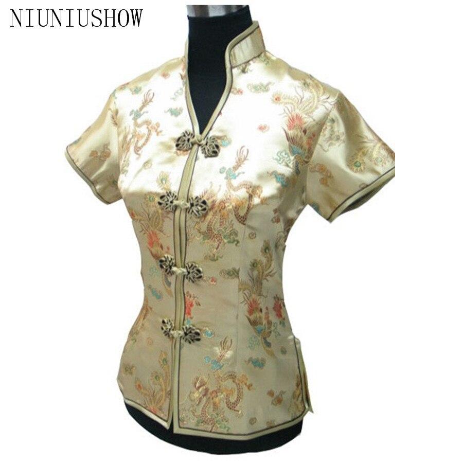 Oro de la manera del verano camisa del v-cuello del satén de las nuevas  señoras Tops Dragon Phenix tamaño S m L XL XXL XXXL envío libre jy044-5 69347038621