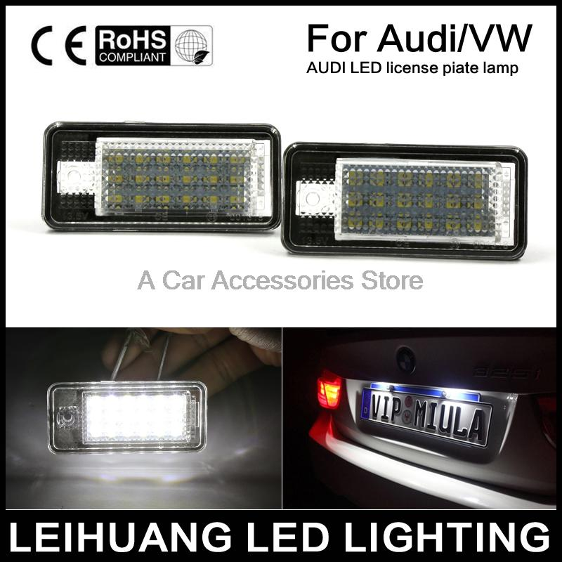 2pcs direct fit Error Free LED license plate light White Lamp Fit For Audi A3/S3/A4/S4/A6/A8/Q7 (Fits: Audi) 12v 2pcs 12v white led license plate light number lamp for renault twingo clio megane lagane error free