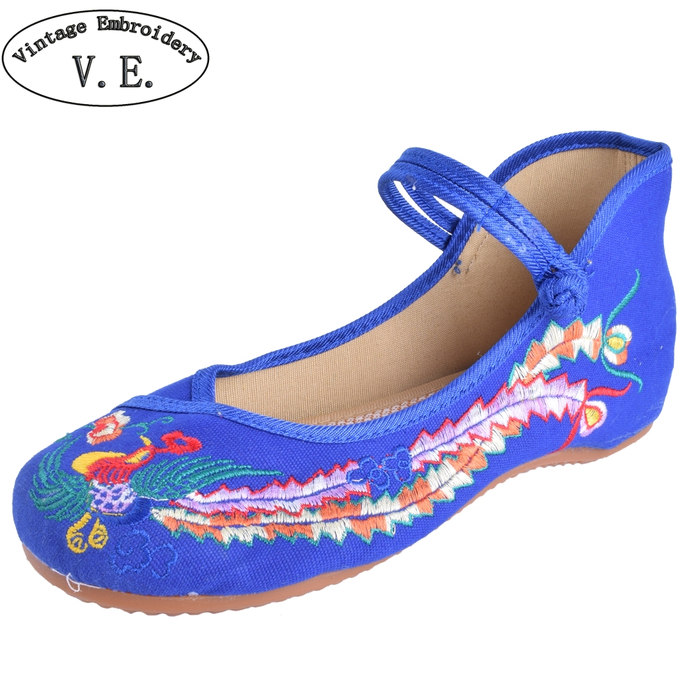 Vintage Floral Women Flats Shoes Casual Old BeiJing Fashion Canvas Singles For Woman Ballet Flat Shoes Plus size 41 plus size 41 fashion women shoes old elegant art party beijing mary jane flats with casual shoes chinese style embroidered clo