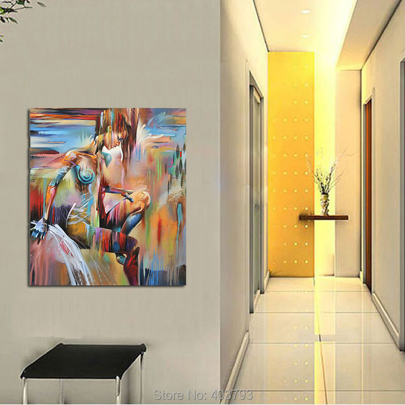 Premium Modern Abstract Hand Painted Wall Art on Canvas Nude Girl Painting Unframed Art Christmas Gifts