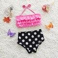 Bebé de La Muchacha Del Verano Traje de Baño de Dos Piezas Set Puntos Playa Torta traje de Baño Niño Niños traje de Baño Lindo Bikini S2013