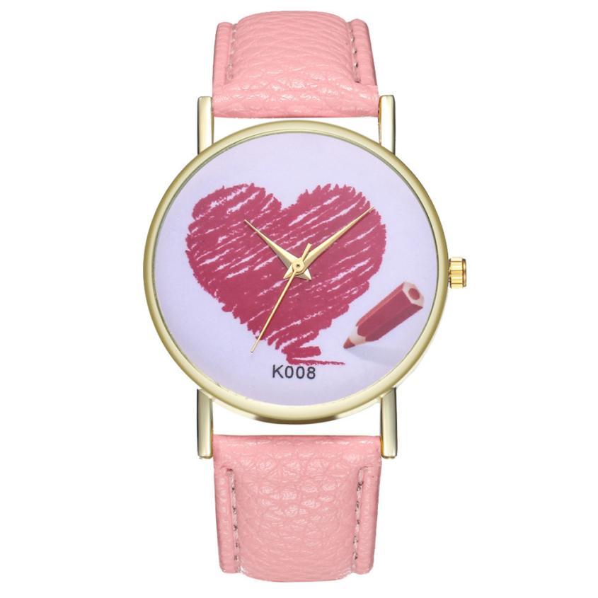 Heart Women's Quartz Watch Fashionable Temperament Hard Clock 2018 Beautiful Simple Business Women Ladies WristWatch #D
