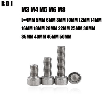 100pcs DIN912 M3 M4 M5 M6 M8 Metric Thread 304 Stainless Steel Hex Socket Head Cap Screw Bolts 4MM-50MM Free shipping image