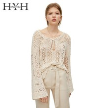 HYH Haoyihui Sexy Hollow Beach Wind Summer New Product tops Loose Comfortable Knitting Perspective Lace Sweater Blouse