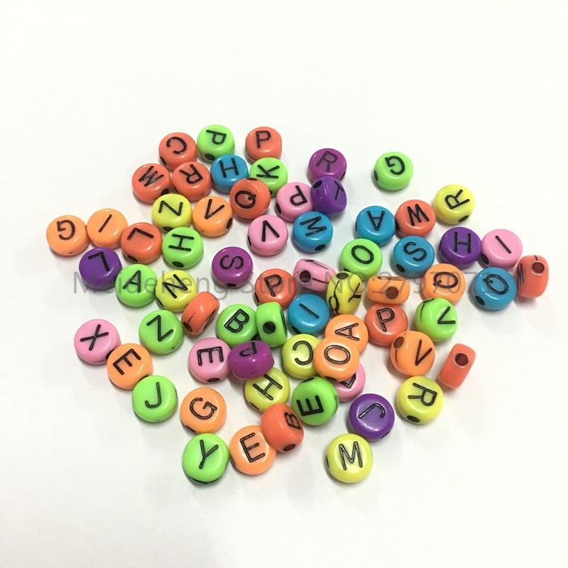 7mm Acrílico forma redonda letras contas para colar pulseira DIY - Bijuterias - Foto 2