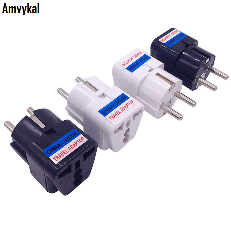 Amvykal CE Universal 4.8MM Pins UK US AU To EU Plug Adapter Travel Charger Electrical Plug Adaptor Converter Socket 1000 pcs