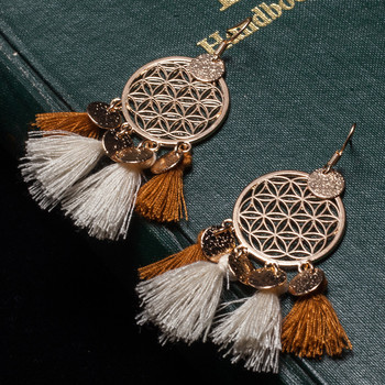 Bohemian Dreamcatcher Tassel Drop Earrings