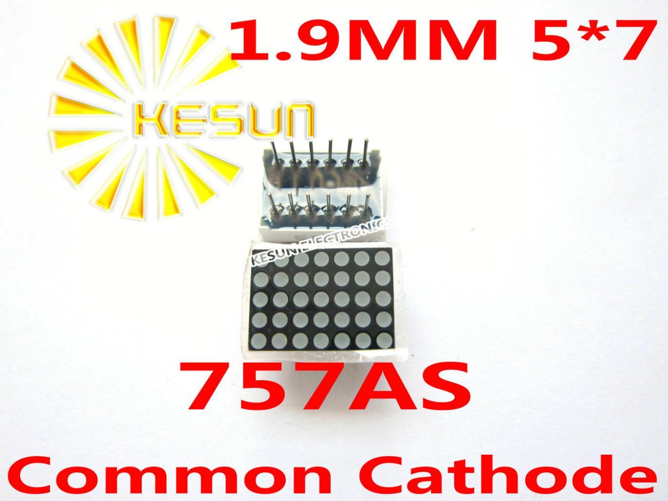 5PCS X 1.9MM 5X7 Red Common Cathode/Anode LED Dot Matrix Digital Tube Module 757AS 757BS LED Display Module