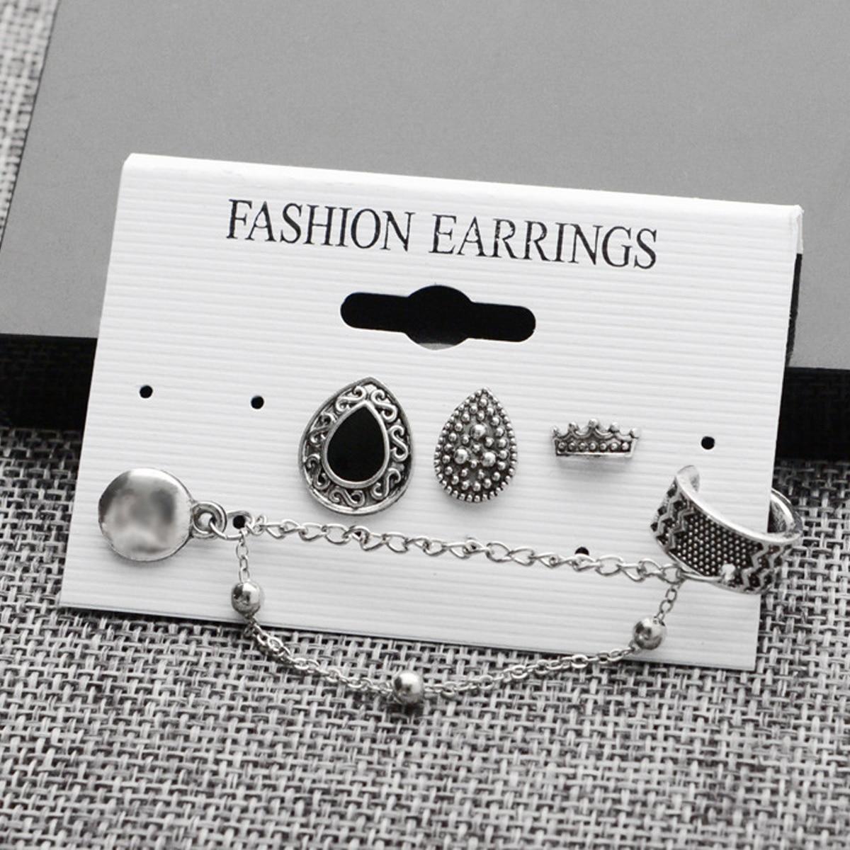 Jewelry Findings & Components Bohemian Women Chain Ear Cuff Clip Stud Wrap Earring Set Gifts For Women Cartilage Earings