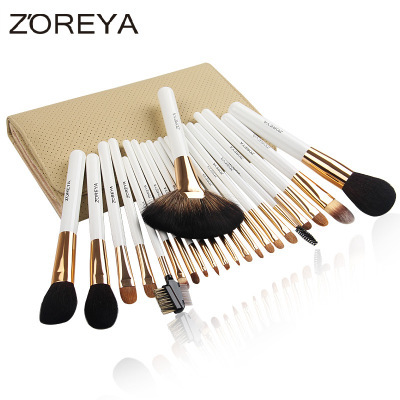 Pro Goat hair Makeup Brushes 22pcs Cosmetic Kit Eyebrow eyeshadow Blush Foundation fan Powder Make up Brush Set With PU Case high quality 24pcs makeup brushes set cosmetic make up brush tool kit fan foundation powder eyeliner brushes with leather case