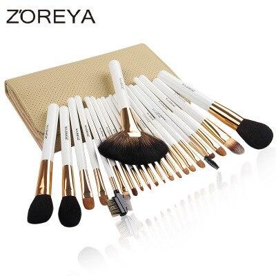 Pro Goat Hair Makeup Brushes 22pcs Cosmetic Kit Eyebrow Eyeshadow Blush Foundation Fan Powder Make Up