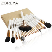 Pro Goat Hair Makeup Brushes 22pcs Cosmetic Kit Eyebrow Eyeshadow Blush Foundation Fan Powder Make Up