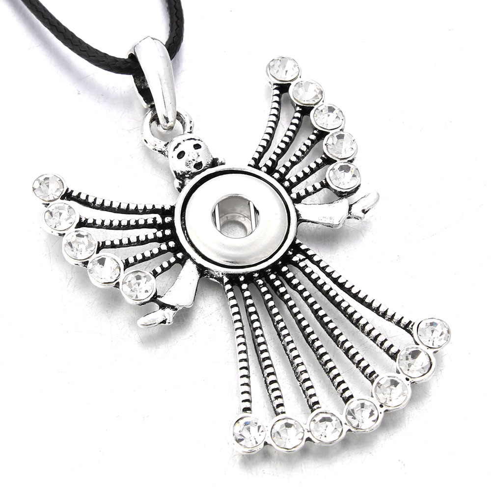 New Snap Buttons Necklaces Charms Angel Pendant Necklace With Chain Fit 12MM Snap Buttons Jewelry Choker Wholesale image