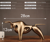 Modern Abstract Golden Calf Statue Resin Decoration Home Accessories Gift Geometric Taurus Sculpture Cra