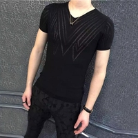 2018 hollow short sleeved t shirt men's transparent mesh thin v neck breathable shirt summer rose tight sexy T shirt