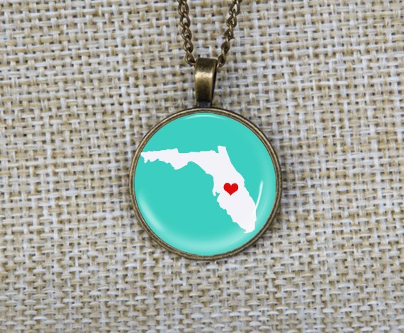 New charming personalized heart map pendant necklace custom state picture necklaces I love US Florida unisex gifts idea