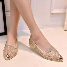 Fashion Transparent flat summer sandals ladies flat silver bling gold sequined low heel women shose