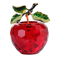 80mm Crystal Christams Apple Paperweight Glass Paperweight Fruit Crafts Gifts Art&Collection Souvenir Home Wedding Decoration