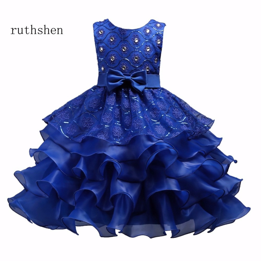 ruthshen Stunning Real Photo In Stock Lace Appliques With Bow   Flower     Girl     Dresses   Ball Gown Sleeveless Vestidos De Comunion 2018