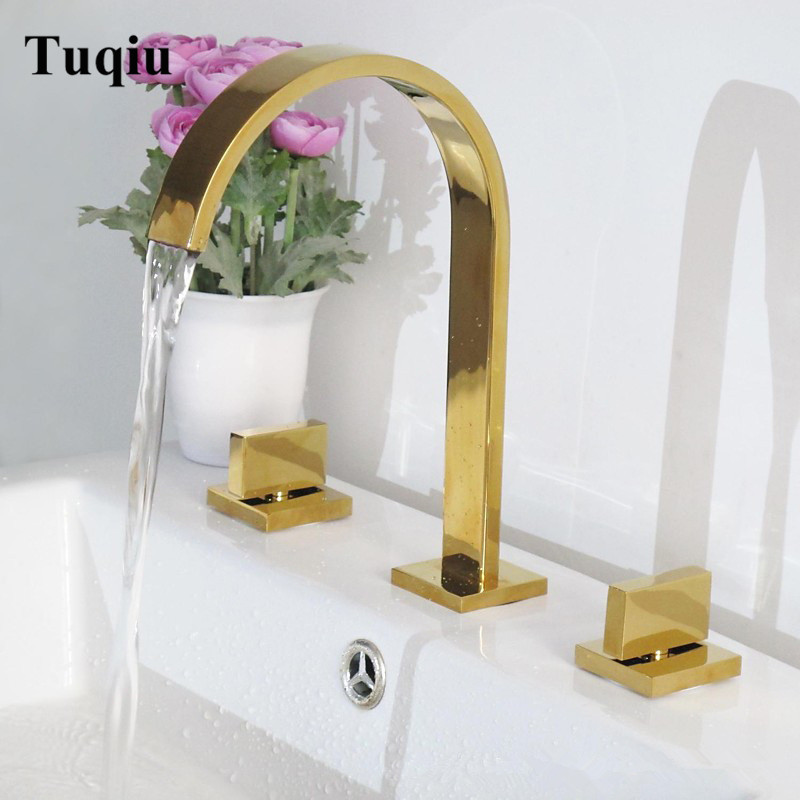 Basin Faucet Chrome/gold/black Deck Mounted Square Brass Faucet Bathroom Sink Faucet 3 Hole Double Handle Hot And Cold Water Tap