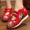 Китайский Стиль Увеличение Обувь Женская Повседневная Обувь 35-40 Комфортно Весна/осень Мода Дышащая Вышитые Обувь Женщины