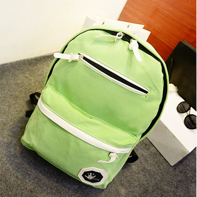 Casual Schoolbag Grass Green Canvas Backpacks Practical Traveling Backpacks Adjustable Straps free shipping korean version candy colors fairy tail logo printing man woman canvas schoolbag red green black blue backpacks