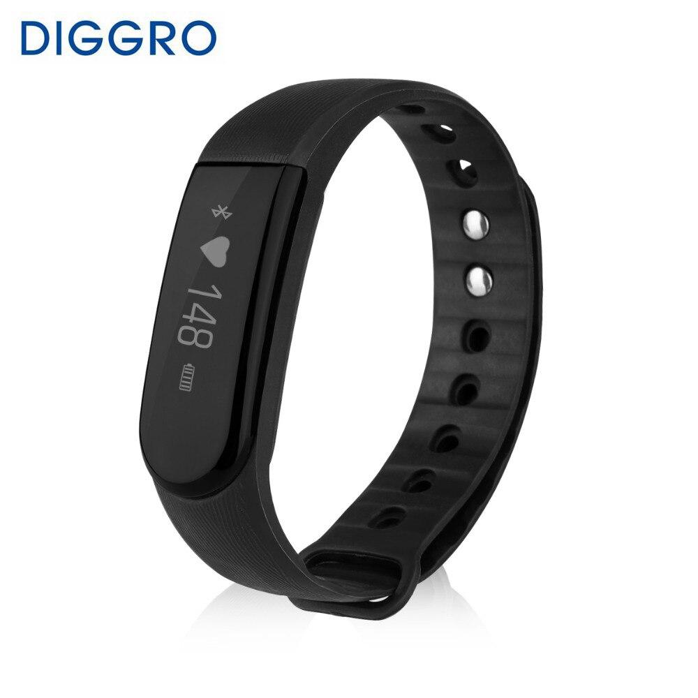 imágenes para Diggro id101 brazalete inteligente de ritmo cardíaco de bluetooth 4.0 ip67 impermeable sport fitness recordatorio sedentario rastreador monitor de sueño remot