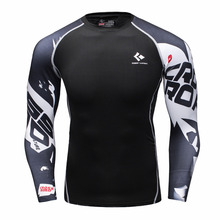 Mens Compression Shirts Bodybuilding Skin Tight Long Sleeves Jerseys Clothings MMA Exercise Workout Fitness Sportswear