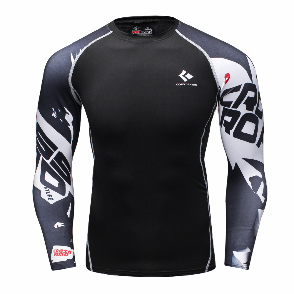 Mens Compression Shirts Bodybuilding Skin Tight Long Sleeves Jerseys font b Clothings b font MMA Crossfit