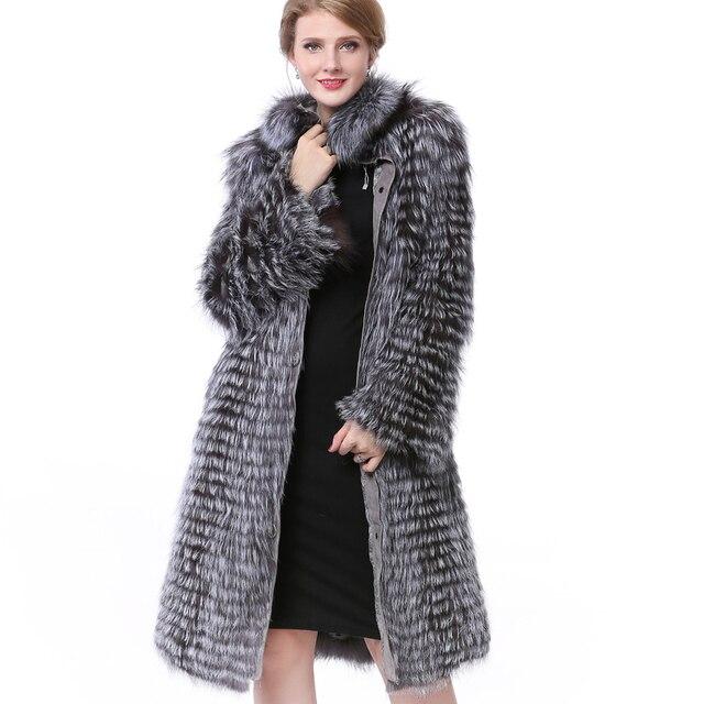 Echtpelz Jacke Mantel Frauen Winter Fuchspelz Echtem Leder