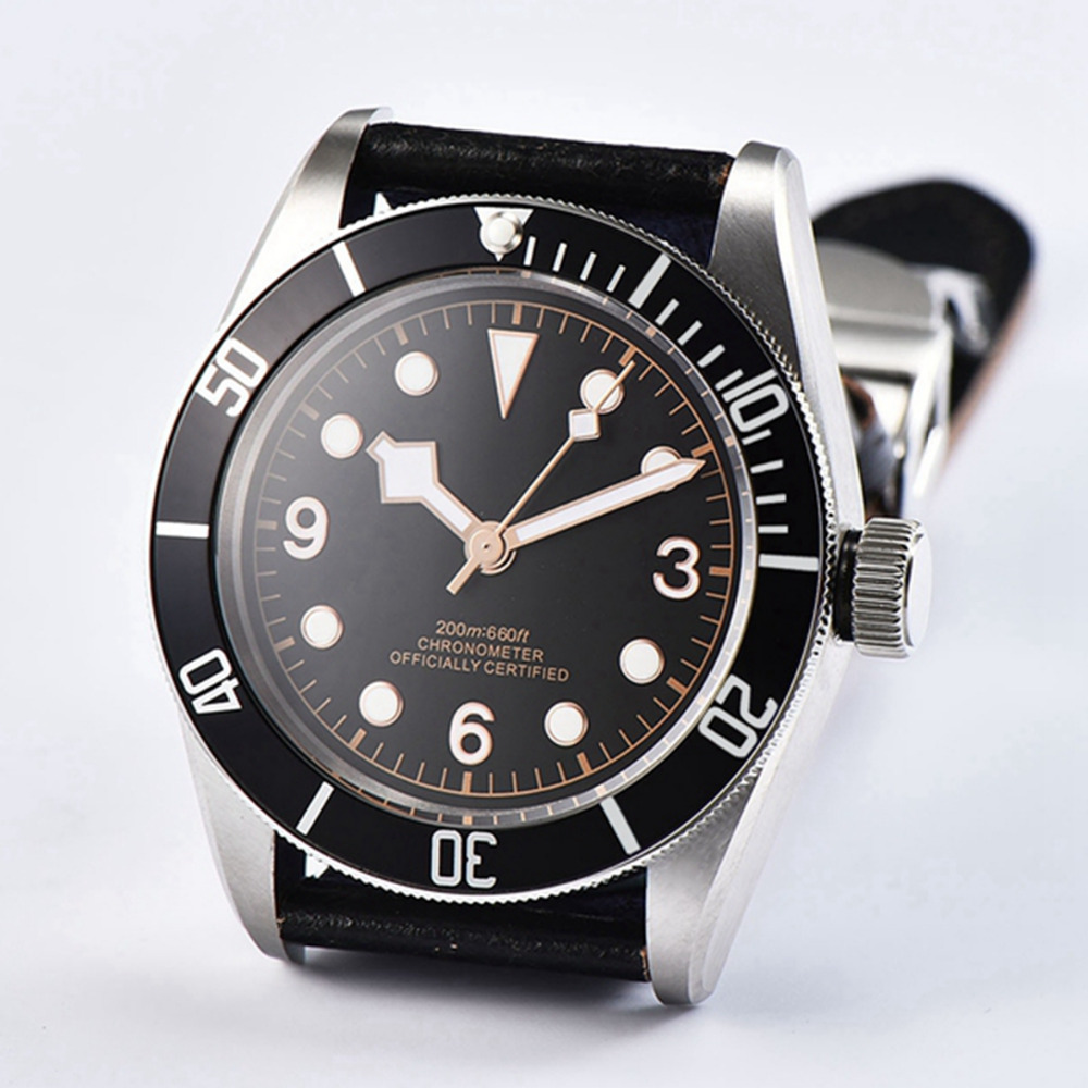 41mm Sterile Dial rosegold Marks watch men Sapphire Glass relogio masculino Black Bezel Mens Automatic mechanical wristwatches - 3