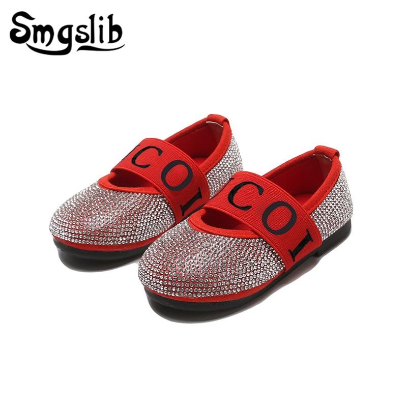 Girls Shoes Kids Princess Glitter Leather Sneaker Little Girls Flats Wedding Children Shoes 2019 Spring Kids Dance Party Shoes